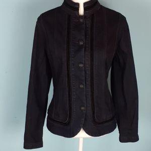 Chico's size 2 military lace denim jean jacket nwt